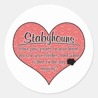 Stabyhoun Paw Prints Dog Humor Round Stickers
