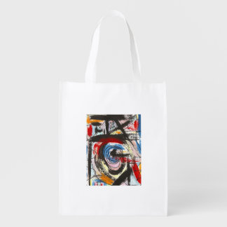 Staccato-Abstract Art Brushstrokes Reusable Grocery Bag