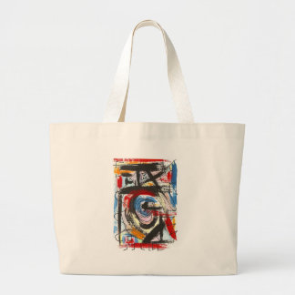 Staccato-Hand Painted Abstract Art Brushstrokes Large Tote Bag