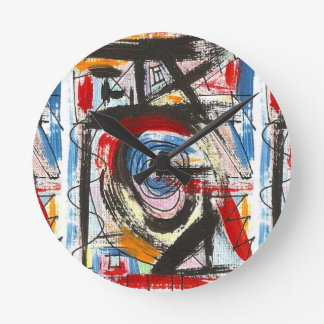 Staccato-Hand Painted Abstract Art Brushstrokes Wall Clocks