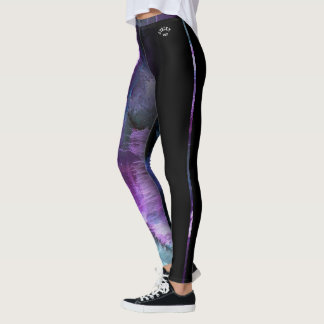 """""""Stacey"""" Purple Abstract with strip Leggings"""