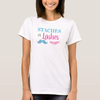 Staches or Lashes Gender Reveal T-Shirt