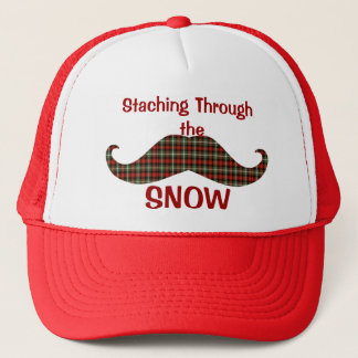 Staching Through the Snow Plaid Christmas Mustache Trucker Hat