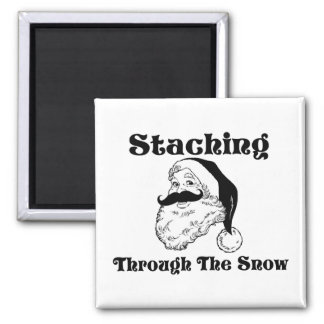 Staching Through The Snow Santa Square Magnet