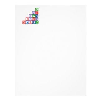 Stack of alphabet blocks customized letterhead