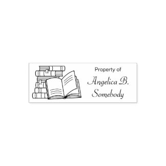 Stack of Books and Open Book - Bookplate Self-inking Stamp