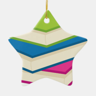 Stack of Books Ceramic Ornament