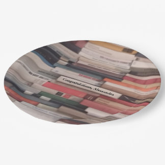 Stack of Books Congratulations Custom Name Paper Plate