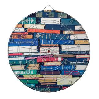Stack of books dartboard
