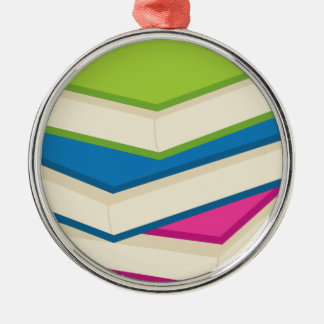 Stack of Books Metal Ornament