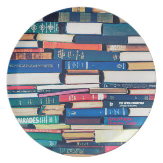 Stack of books plate
