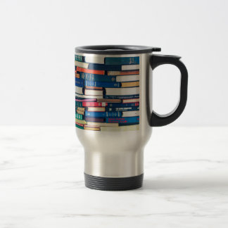 Stack of books travel mug