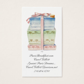 Stack of macaron boxes business card