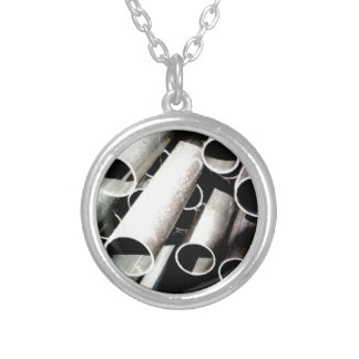 stack of metal tubes silver plated necklace
