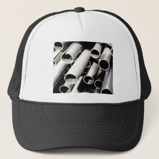 stack of metal tubes trucker hat