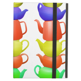 Stack of painted teapots iPad air cover