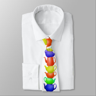 Stack of painted teapots tie