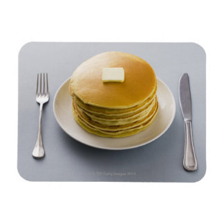 Stack of pancakes with butter on a plate rectangular photo magnet