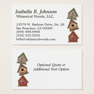 Stack of Three Weathered Birdhouses Business Card