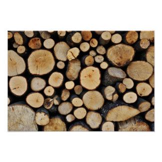 Stack of tree logs poster