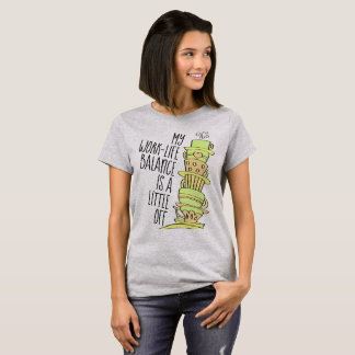 Stack of Whimsical Leaning Pastel Coffee Cups T-Shirt