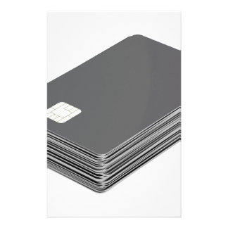 Stack with blank plastic cards with chip