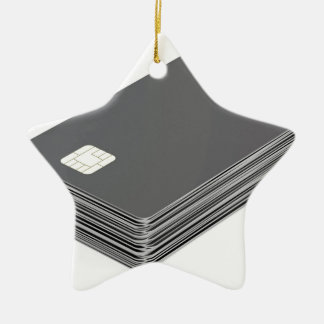 Stack with blank plastic cards with chip ceramic ornament