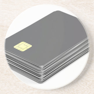 Stack with blank plastic cards with chip coaster