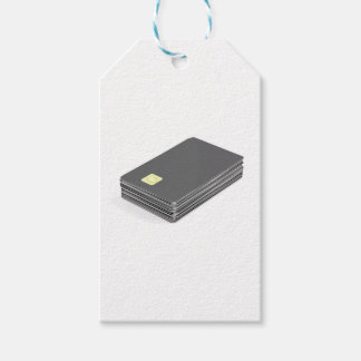 Stack with blank plastic cards with chip gift tags