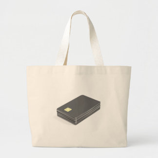 Stack with blank plastic cards with chip large tote bag