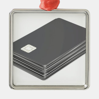 Stack with blank plastic cards with chip metal ornament