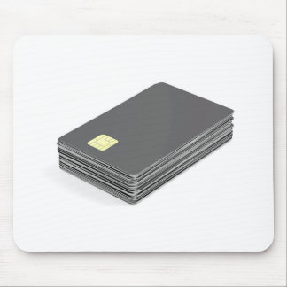 Stack with blank plastic cards with chip mouse pad