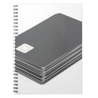 Stack with blank plastic cards with chip notebook