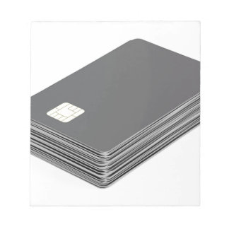Stack with blank plastic cards with chip notepad
