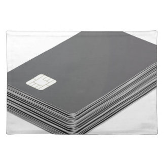 Stack with blank plastic cards with chip placemat