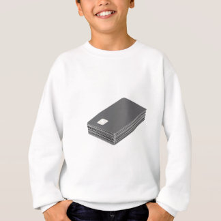 Stack with blank plastic cards with chip sweatshirt
