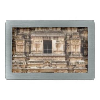 stacked ancient building rectangular belt buckle