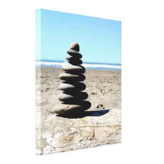 Stacked Beach Rocks Ocean Scene Print