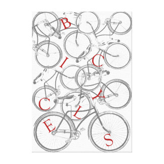 Stacked Bicycles Canvas Art