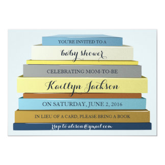 Stacked Books Baby Shower Invitation