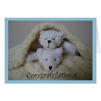 stacked boy twin bears congratulations card