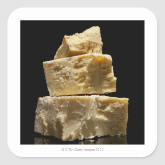 Stacked Chunks of Parmasean Cheese Square Sticker