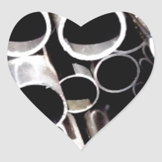 stacked circles of steel heart sticker