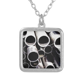 stacked circles of steel silver plated necklace