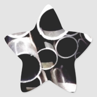 stacked circles of steel star sticker