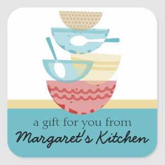 Stacked cooking baking mixing bowls gift tag label