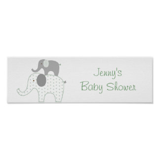 Stacked Elephant Baby Shower Banner Sign