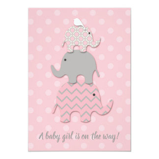 Stacked Elephant Baby Shower Invitation