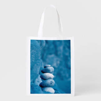 Stacked pebbles reusable grocery bag