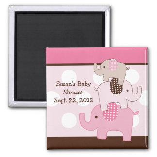 Stacked Pink Elephants Magnet/Keepsake/Party Favor Square Magnet